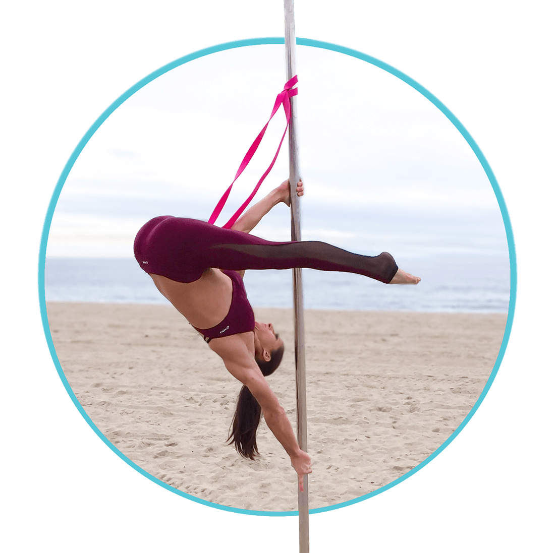 Aerial Deadlift on the Pole with Resistance Bands